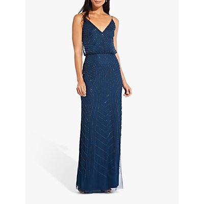 Adrianna Papell Blouson Beaded Maxi Dress, Deep Blue