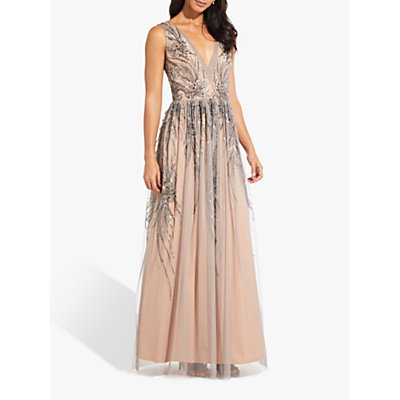 Adrianna Papell Beaded Long Dress, Mercury/Nude