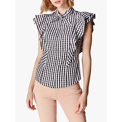 Karen Millen Gingham Ruffle Shirt, Black/White