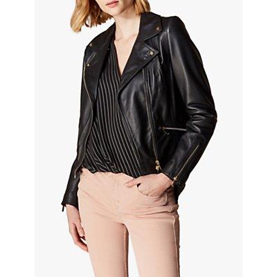 Karen Millen Leather Biker Jacket, Black