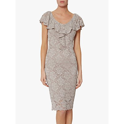 Gina Bacconi Starla Ruffle Lace Embroidered Dress