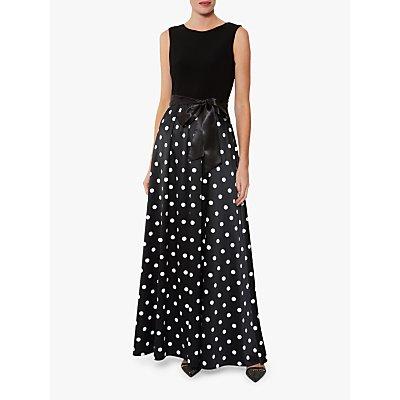 Gina Bacconi Ilythia Satin Maxi Dress, Black/White