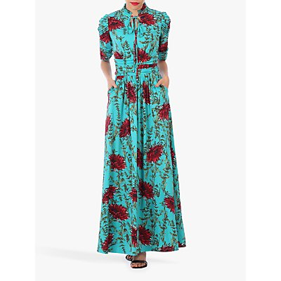 Jolie Moi Tie Collar Floral Maxi Dress, Teal Floral