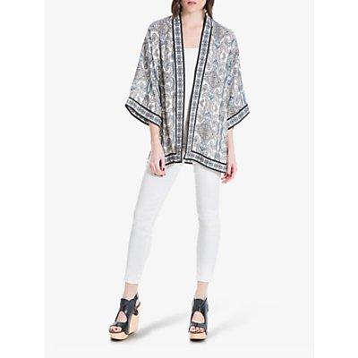 Max Studio Floral Print Kimono, Cream/Blue