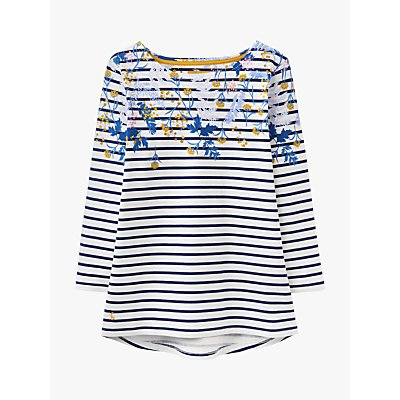 Joules Harbour Floral Print Jersey Top, Navy