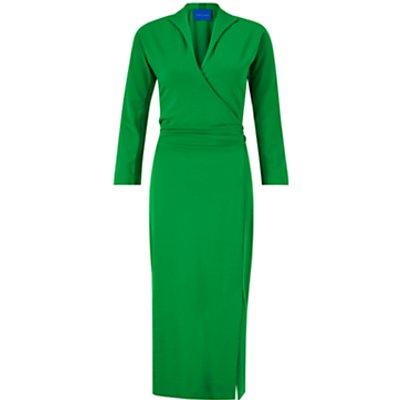 Winser London Wrap Over Pencil Dress, Emerald Green