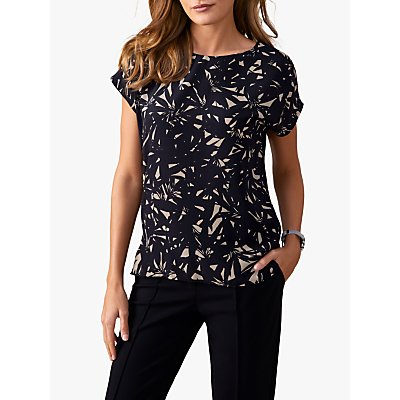 Pure Collection Silk Front Print Top, Black/Neutral