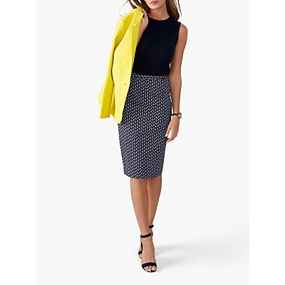 Pure Collection Pencil Skirt, Navy Chevron