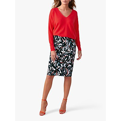 Pure Collection Pencil Skirt, Multi/Leaf