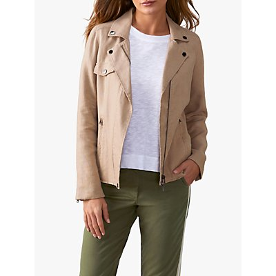 Pure Collection Linen Biker Jacket, Camel