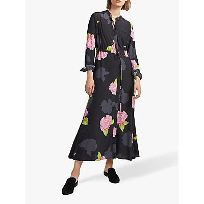 French Connection Eleonore Draped Shirt Dress, Black Multi