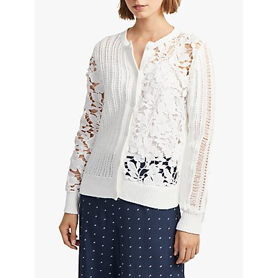 French Connection Floral Patchwork Cardigan, Summer White