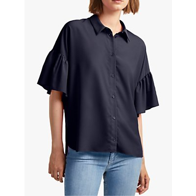 French Connection Crepe Ruffle Sleeve Shirt, Utility Blue