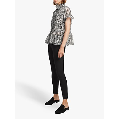 French Connection Elvire Lawn Floral Blouse, Utility Blue/Cream