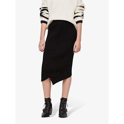 AllSaints Amara Asymmetric Pencil Skirt, Black