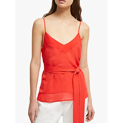 French Connection Belted Crepe Cami Top, Fire Coral