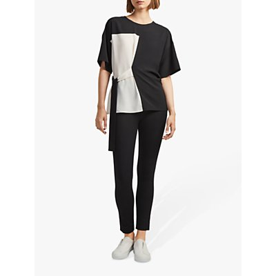 French Connection Edeline Short Sleeve Top, Black/White