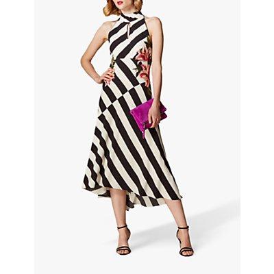 Karen Millen Stripe Embroidered Dress