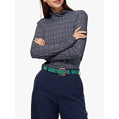 Brora Textured Jersey Turtle Neck Top, Navy/Chambray