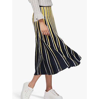 Brora Merino Wool Stripe Midi Skirt