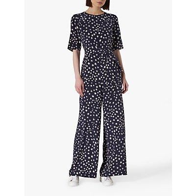 L.K.Bennett Loren Silk Jumpsuit, Navy/Cream