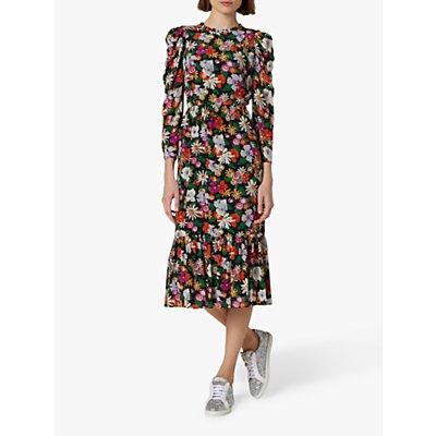 L.K.Bennett Alissa Floral Ruffle Hem Midi Silk Dress, Multi