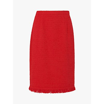 L.K.Bennett Myia Ruffle Trim Pencil Skirt, True Red