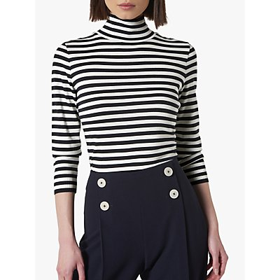 L.K.Bennett Abi Stripe Jersey Top, Blue/Cream