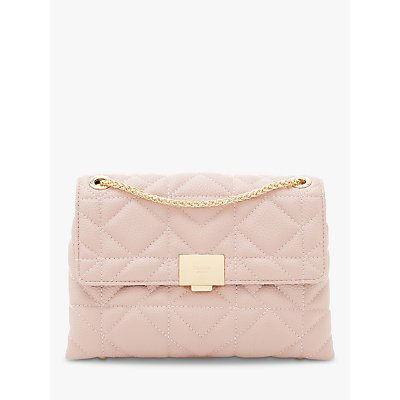 Dune Evangelina Quilted Clutch Bag, Blush
