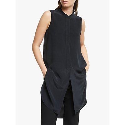 Modern Rarity Top Stitch Silk Blouse, Grey