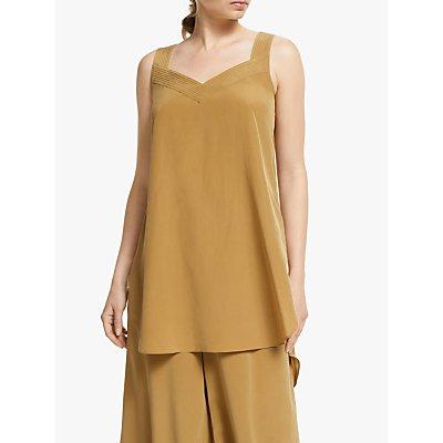 Modern Rarity Top Stitch Silk Cami Top, Brown