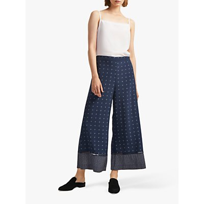 French Connection Catalina Culotte Trousers, Indigo/Classic Cream