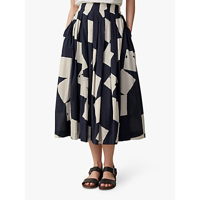 Toast Diamond Print Cotton Skirt, Off Black/Ecru