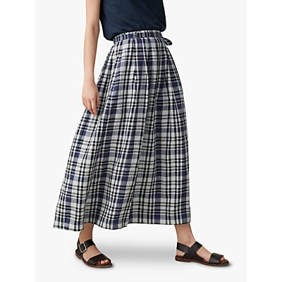 Toast Linen Maxi Check Skirt, Off Black/Ecru