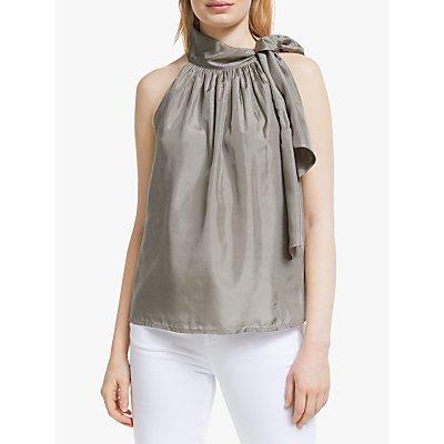 John Lewis & Partners Halter Tie Neck Silk Top, Grey