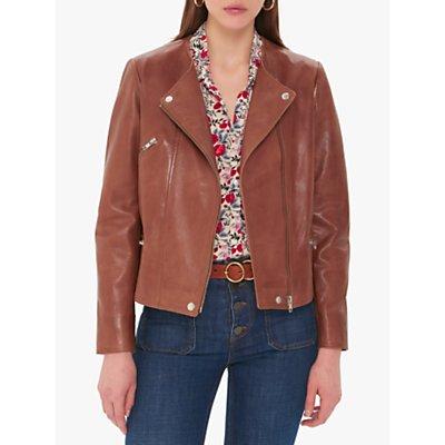 Gerard Darel Ottavia Leather Biker Jacket, Brown
