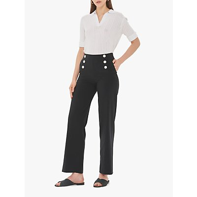 Gerard Darel Naelie Wide Leg Button Trousers, Navy