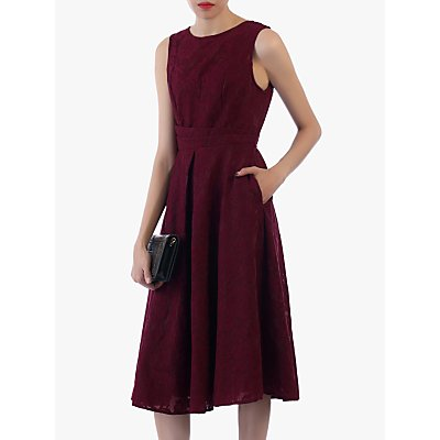 Jolie Moi Bonded Lace Flare Dress, Burgundy