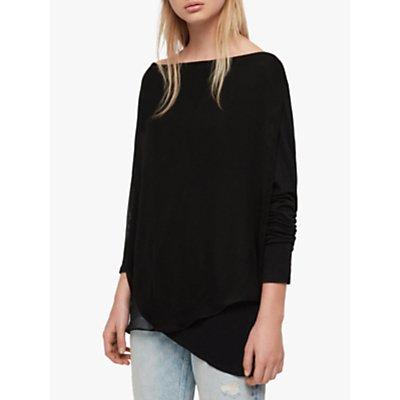 AllSaints Long Sleeve Jersey Top, Black