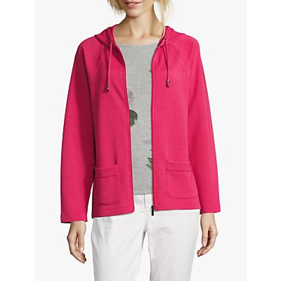 Betty Barclay Cosy Fine Ribbed Hoodie, Red Raspberry
