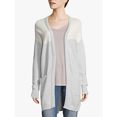 Betty Barclay Ribbed Edge Cotton Cardigan, Silver/White