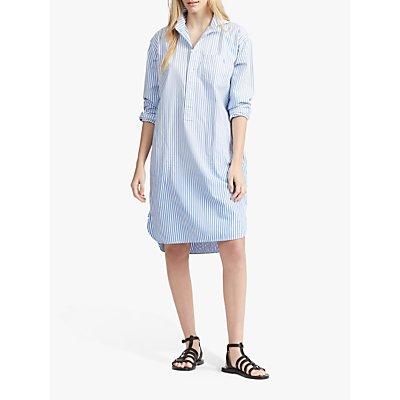 Polo Ralph Lauren Stripe Poplin Shirt Dress, Blue/White