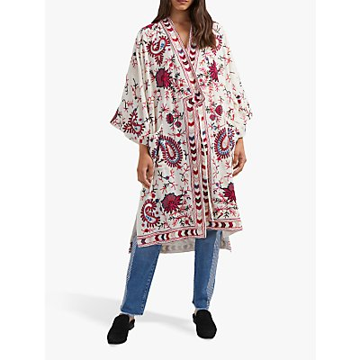 French Connection Dorothy Abstract Floral Kimono, Cream