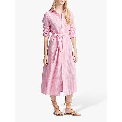 Polo Ralph Lauren Linen Stripe Midi Shirt Dress