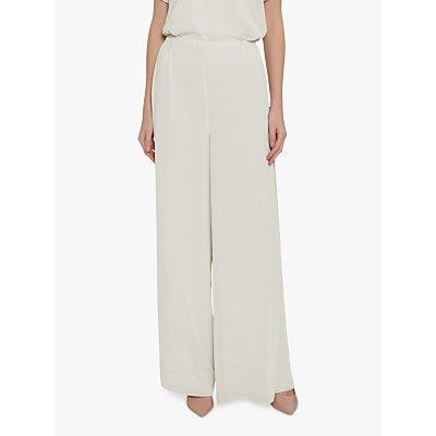 Gina Bacconi Wide Leg Side Slit Chiffon Trousers, Butter Cream