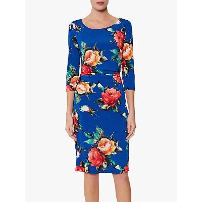 Gina Bacconi Yanina Floral Dress, Royal Blue/Multi