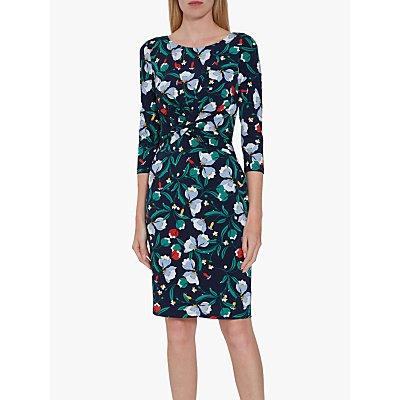 Gina Bacconi Beata Print Jersey Twist Knot Dress, Navy