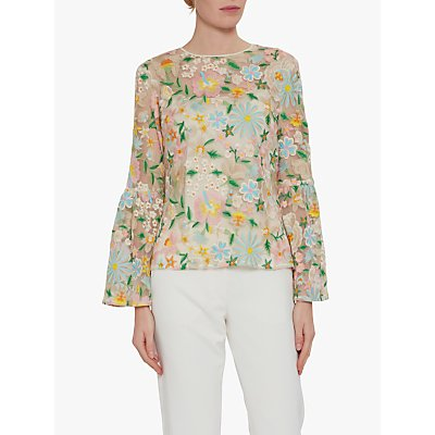 Gina Bacconi Nuala Floral Embroidered Top, Pink/Beige