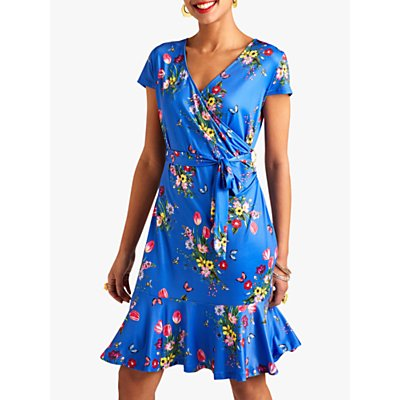 Yumi Slinky Jersey Floral Wrap Dress, Blue