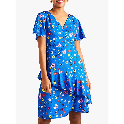 Yumi Floral Ditsy Frill Dress, Blue